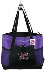 Pink Ribbon Butterfly Cancer Awareness Monogram Bag Gemline Purple Zip Tote Gift