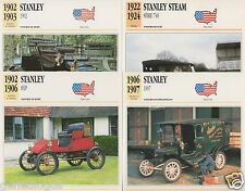 4 FICHES AUTOMOBILE USA CAR STANLEY STEAM SERIE 740 1907 1902 8 HP 1902-1924