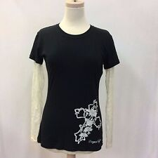 Women's Cowgirl Tuff Black Jersey T w/Cream Lace Sleeves, Sz Sm Style 100306