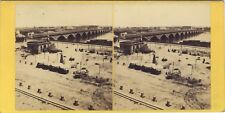 Bordeaux Pont et Marché aux fruits Photo Stereo Vintage Albumine ca 1865