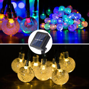 Solar 6M 30LED Crystal Ball Fairy String Lights Xmas Outdoor Garden Waterproof