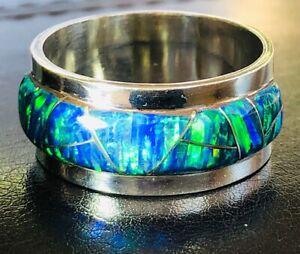 Heavy thick Pipe Men Man Black Opal Ring FIRE Sunset GLOW Sterling 13 FIRE Z++