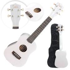 "23"" White Concert Ukulele Guitar Basswood 15 Frets Hawaiian Instrument w/ Bag"