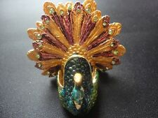 Decorative Collectible Peacock Bird Trinket Pill Box Enamel Rhinestone
