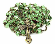 LG ANTIQUE BRONZE PERIDOT GREEN CRYSTAL ROSARY,ROSARIO,ROSENKRANZ & FREE GIFT