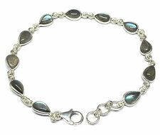 Handmade 925 Sterling Silver Bracelet with Real Labradorite Stones and Gift Box