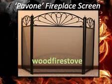 FIRESCREEN 'Pavone'  Wrought Iron Fire Screen GUARD Shield FIREPLACE ACCESSORIES