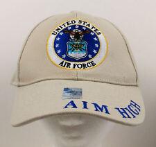 USAF Aim High Khaki Baseball Cap - United States Air Force - New with Tags