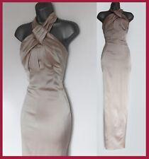 KAREN MILLEN Cream Satin Folded Neck Halterneck Party Style Maxi Dress UK 12 40