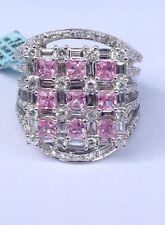 Stunning 18K White Gold Pink Sapphire And Diamond Ring