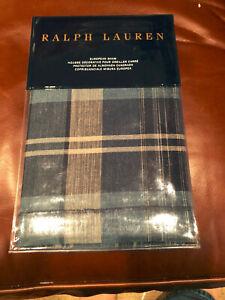 Ralph Lauren ARTISAN LOFT JASPER Blue Plaid EURO Pillow Sham -- NWT