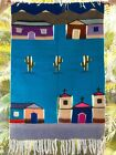 VTG Mexican Native Southwestern Wool Hand Loomed Tapestry Church Scene 27.5 x 40