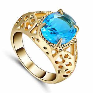 Men's Size 7 (Blue) Aquamarine Fashion yellow 10k Gold Filled Wedding