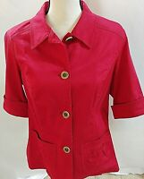 Coldwater Creek Sz 14 Red Jacket 1/2Slv Buttons Pockets Collared Cotton/Spandex