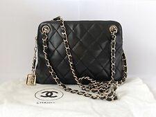 Authentic Vintage Chanel Small Matelasse Leather Shoulder Bag Black Rare