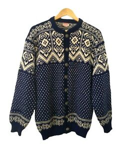 Vintage Voss Men's 100% Wool Icelandic Nordic Cardigan Sweater Made in Norway