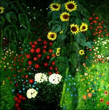 Hand Painted Oil Painting Repro Gustav Klimt  Garden with Sunflowers 36x36in