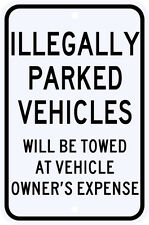 3M Reflective Illegally Parked Vehicles Violation Sign Municipal Grade 12 x 18