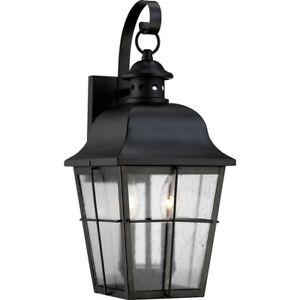 Quoizel Lighting MHE8409K Millhouse 2 Light Outdoor Wall Light, Mystic Black