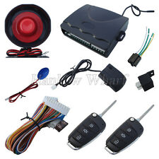 Universal Car Security Alarm System With 2 Flip Key Remote Controls & LED Light