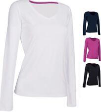 Ladies Womens Womans Cotton Long Sleeve Vee V Neck Tee T-Shirt Tshirt