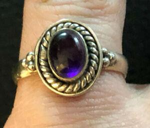 Sterling Silver Ring Amethyst Purple Cab Southwest Bali Sz 6.25 2g 925 #1131