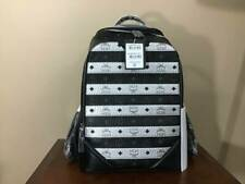 MCM Spot Visetos Medium Duke Signature Nappa Leather Backpack Black Silver NWT