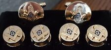 Gold round Square & Compass cuffs and studs G centered in Blue