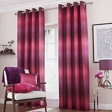 "Catherine Lansfield 66"" X 90"" Stripe Purple Plum Eyelet Ringtop Lined Curtains"
