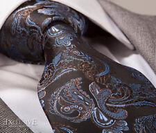 BROWN & COBALT BLUE PAISLEY SILK TIE - ITALIAN DESIGNER
