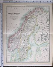 1915 LARGE MAP SWEDEN & NORWAY SCANDINAVIA GOTHLAND SVEALAND CHRISTIANSAND