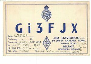 Vintage QSL Radio Card - Royal Ulster Constabulary, Gi3FJX. Belfast 1949.