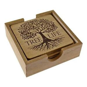 Tree of life Wooden Coaster set