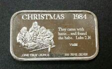 1984 Christmas Silver Art Bar Luke 2.16 - 1 oz .999 Fine Silver