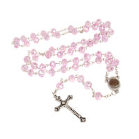 "Pink Crystal Rosary Beads Crucifix Necklace w/ Holy Soil from Jerusalem 20""/50cm"