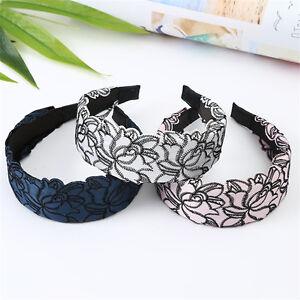 Women's Lace Flower Wide Alice Hairband Headbands Hair Hoop Accessories Headwear