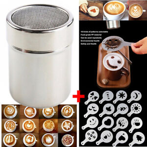 Kaffee Cappuccino Schokolade Shaker Kakaostreuer Gewürzstreuer + 16 Schablonen