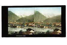 Interlaken Suisse Grande plaque stereo colorisée Vintage ca 1860