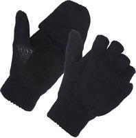 Unisex Wool Blend Crochet Convertible Fingerless Gloves with Mitten Cover Winter