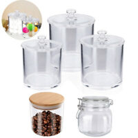 Set of 3 Clear Plastic Apothecary Jars for Bathroom Cotton Jar Storage Canister