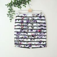 NEW White House Black Market Jacquard Floral Bumblebee Straight Skirt Sz 8