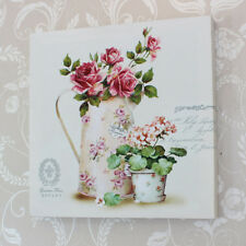 Wall art rose jug floral canvas picture print shabby vintage chic home gift