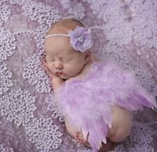 Baby Fotoshooting Fotograf Engel Kostüm Engelsflügel Set Anzug Haarband lila
