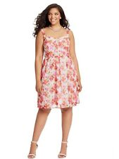 NWT CITY CHIC Sundress -1950s Vintage Style Floral Spot Pink Red RRP $130 - M/18