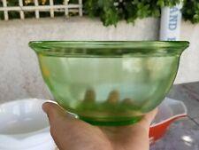 """Vintage Hazel Atlas Green Vaseline Glass Nesting Bowl Panel Design Rolled Rim 7"""""""