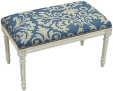 BENCH JACOBEAN FLORAL FLOWERS ANTIQUE WHITEWASH NAVY WHITE HAND-APPLIED BR