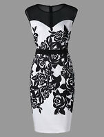 Elegant Plus Size Women Dress Flower Print Mesh Panel Sheath Formal Work Party