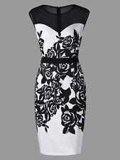 Plus Size Women Dress Flower Print Mesh Panel Sheath Formal Work Party Dress