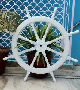 """White Antique Handcrafted 36"""" Home Decor Maritime Nautical Wooden Ship Wheel GIF"""