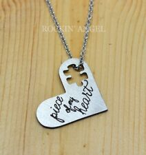 Stainless Steel Heart Pendant Necklace 'Piece of my Heart' Puzzle Love Autism